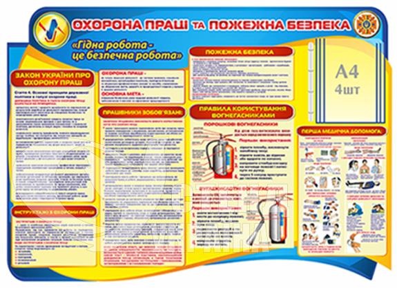 Стенд «Охорона праці та пожежна безпека» з перекидною системою на 4 кишені